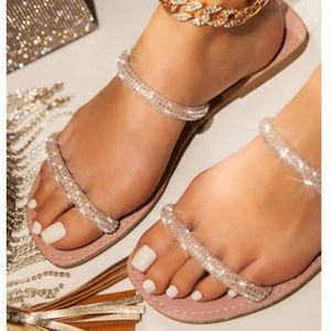Shoes - Embellished Double Strap Slides in Blush Pink